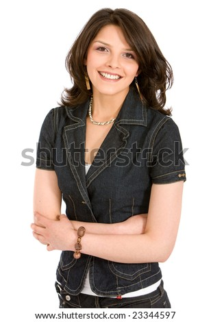 casual woman smiling isolated over a white background
