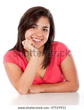 Casual woman smiling isolated over a wite background - stock photo