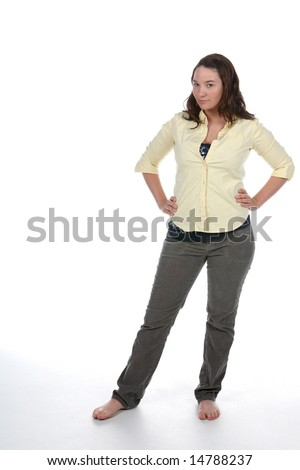 casual woman standing with her hands on her hips