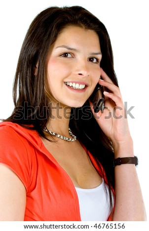casual woman talking on the phone - isolated over a white background