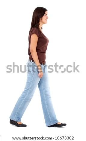casual woman walking from side to side isolated over a white background - stock photo
