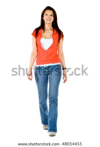 casual woman walking isolated over a white background - stock photo