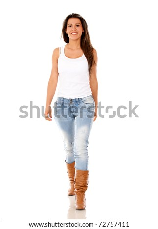 Casual woman walking - isolated over a white background - stock photo