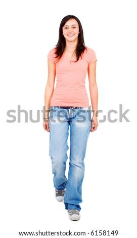 Casual Woman Walking Towards Camera Isolated Stock Photo ...