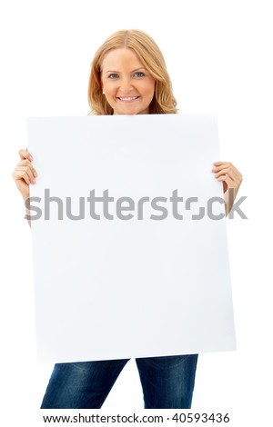 Casual woman with a banner smiling isolated - stock photo