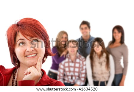 Casual woman with her friends behind isolated on white