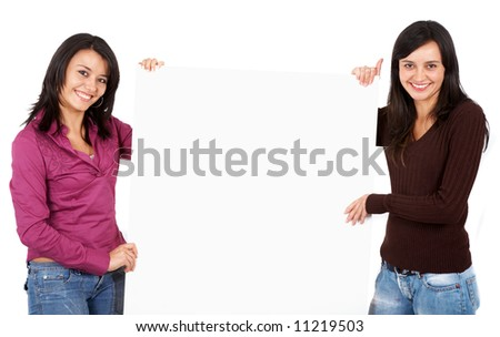 casual women holding a banner add isolated over a white background