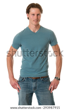 Casual young adult man. Studio shot over white. - stock photo