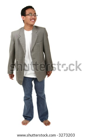 casual young asian man laughing and looking to side - stock photo