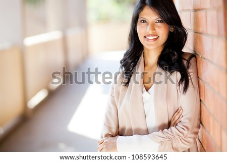 casual young attractive university business school student portrait - stock photo