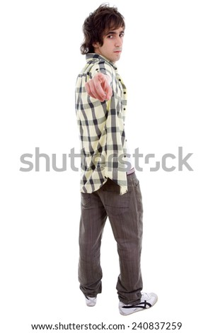 casual young man full body, pointing, isolated on white