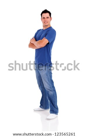 casual young man full length isolated on white - stock photo