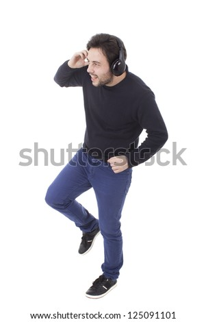 casual young man listening music