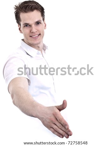 Casual Young Man Offering A Handshake