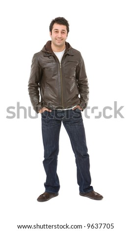 casual young man portrait on white background