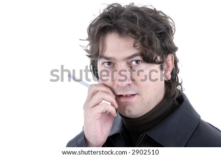 casual young man portrait posing with cigarette