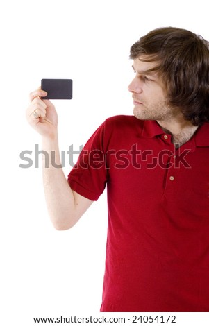 casual young man presenting a blank card