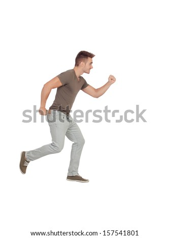 Casual young man running isolated on a white background