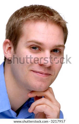 Casual Young Man Smiling, Isolated On A White Background