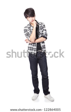 Casual young man thinking in full body isolated on white background, asian model - stock photo