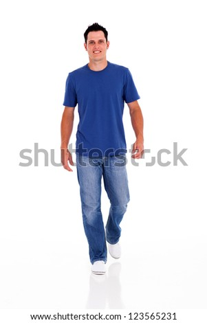 casual young man walking on white - stock photo