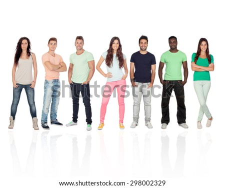 Casual young people with jeans isolated on a white background - stock photo