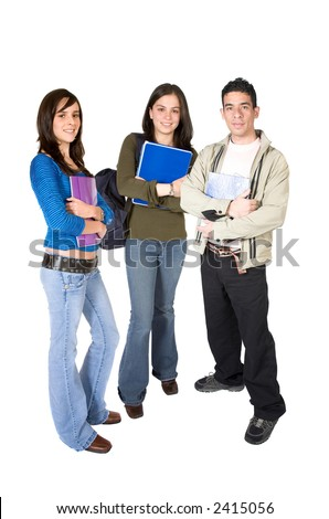 casual young students on a white background - stock photo