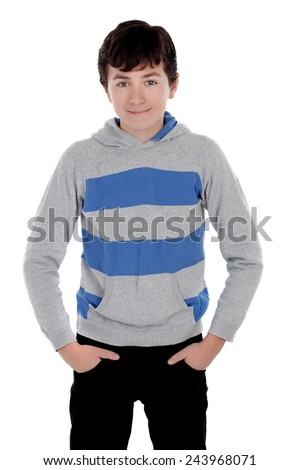 Casual young teenager isolated on a white background - stock photo