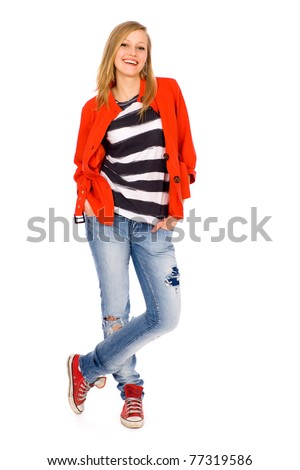 Casual young woman - stock photo