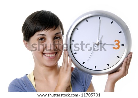 casual young woman holding a big clock - stock photo