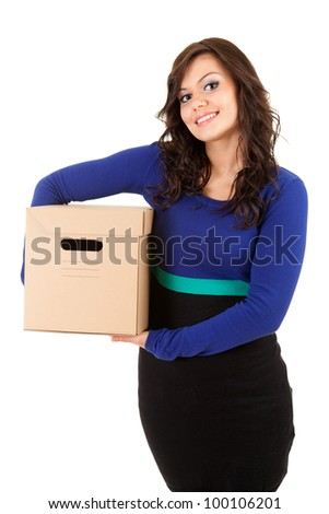 casual young woman with cardboard box, white background