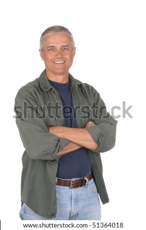 Casually dressed middle aged man with arms folded. 3/4 view of man shot in vertical format isolated on white. - stock photo