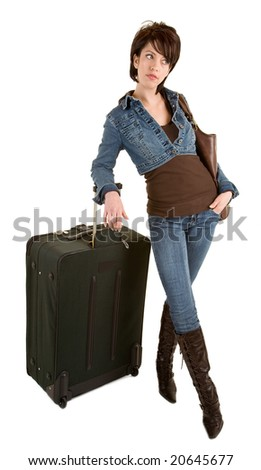 Casually Dressed Standing Young Lady with Luggage Waiting