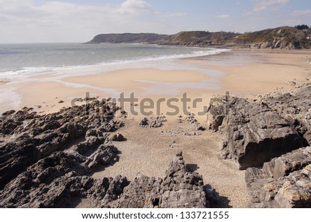 Caswell Bay on a bright spring morning