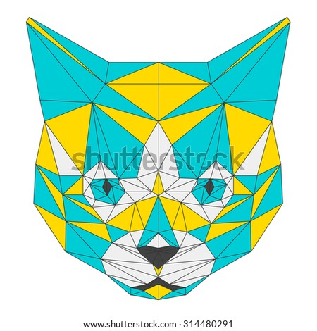 Cat. Abstract cat. Cat icon. Cat. Polygonal cat. Cat. cat icon. Geometric cat. Cat. Isolated cat. Cat on white. Cat card. Cat card, book, poster, banner, book. Abstract cat. Cat icon. Cat. Raster copy - stock photo