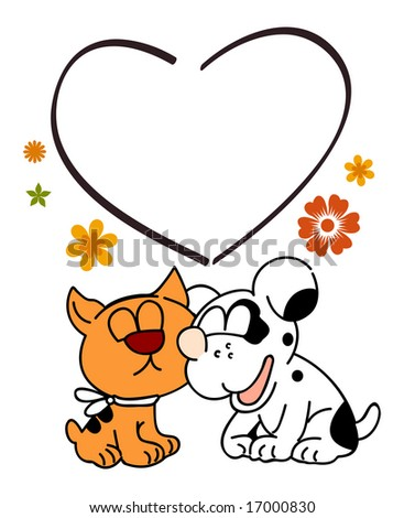 Cat and dog are kissing, illustration - stock photo