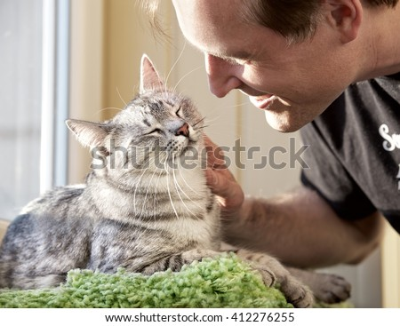Cat and man, portrait of happy cat with close eyes and young man , man playing with the cat. Handsome Young Animal-Lover Man, Hugging and Cuddling his Gray Domestic Cat Pet - stock photo