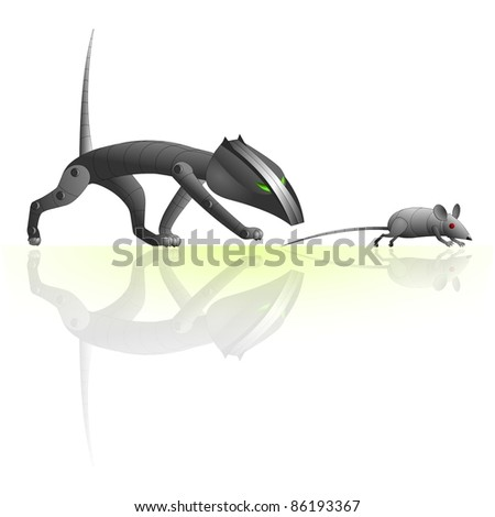 Cat and rat robots - stock photo
