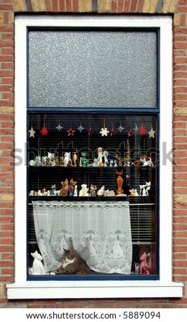 Cat And Vintage Figurine Collection On Display In A Window - stock photo