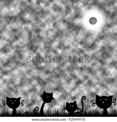 cat at the moon - stock photo