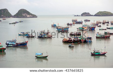 CAT BA, VIET NAM, June 10, 2016 Cat Ba bay. It has been recognized as a UNESCO biosphere reserve in the world