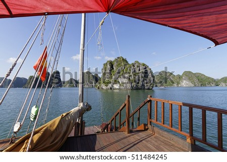 CAT BA, VIETNAM, October 27, 2016 : Scene of navigation in Cat Ba Archipelago, the southeastern edge of Ha Long Bay. Ha Long has been inscribed in the World Heritage List in 2000.