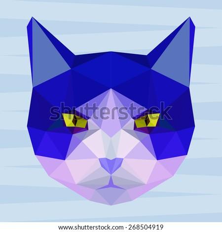 Cat. Blue cat. Abstract cat. Cat icon. Cat. Polygonal cat. Cat. Geometric cat. Cat portrait. Abstract cat. Graphic cat. Cat gaze. Cat icon.Isolated cat. Cat. Cat icon.Cat icon. Cat icon. Raster copy - stock photo