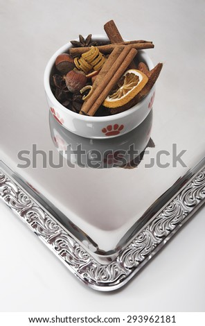 Cat Bowl with Christmas decorations - stock photo