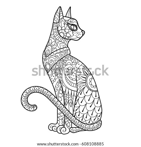 Cat Coloring Book Raster Illustration Black And White Lines Lace Pattern