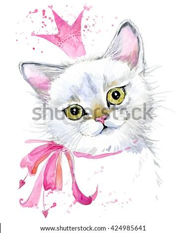 Cat. Cute cat. Watercolor Cat illustration. Birthday card. T-shirt print. Greeting card. Pet illustration. Poster illustration. Kitten.  - stock photo