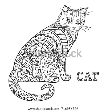 Cat Design Zentangle Hand Drawn With Abstract Patterns On Isolation Background
