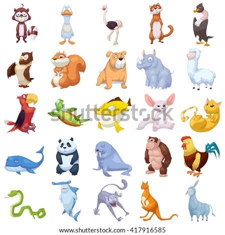 Cat, Dog, Fish, etc. Animal Mascot, Game Character Design isolated on White Background  - stock photo