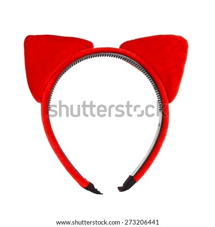 Cat ears headband isolate on white - stock photo