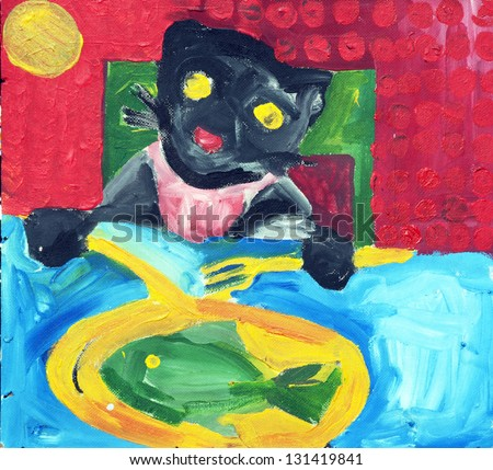 cat, eating, fish, painting - stock photo